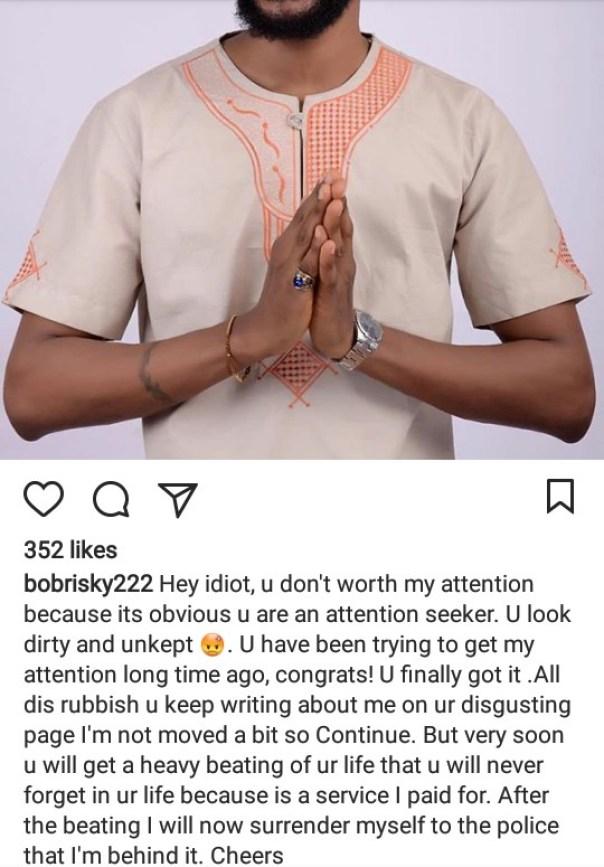 Bobrisky Threatens To Hire Thugs To Beat Up Uche Maduagwu (2)
