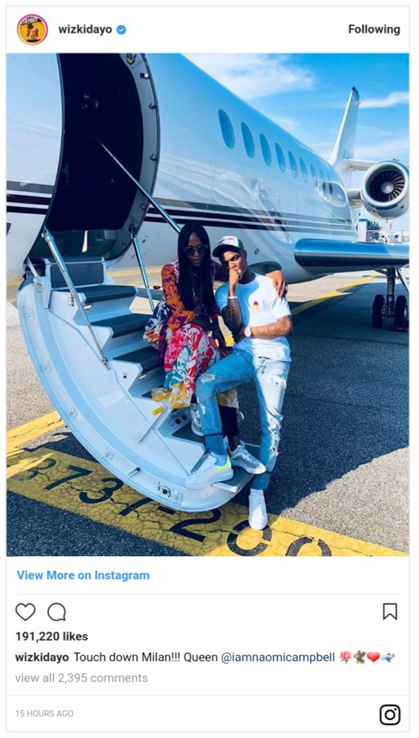 Naomi Campbell With Wizkid On Private Jet For Milan Show