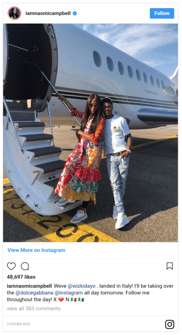 Naomi Campbell With Wizkid On Private Jet For Milan Show (2)