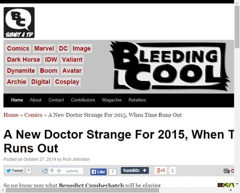 新たなドクター・ストレンジは2015年タイム・ランズ・アウトでやってくる?!