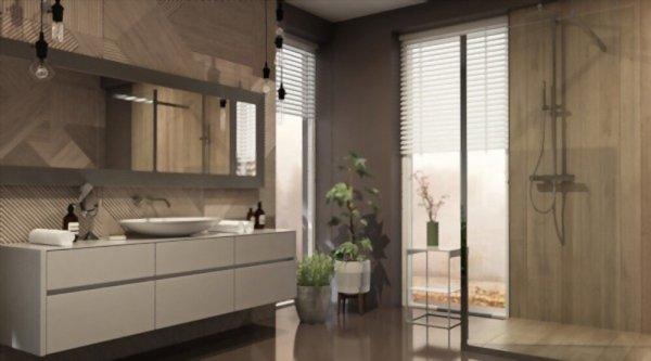 baño con mueble de madera de estilo ecológico