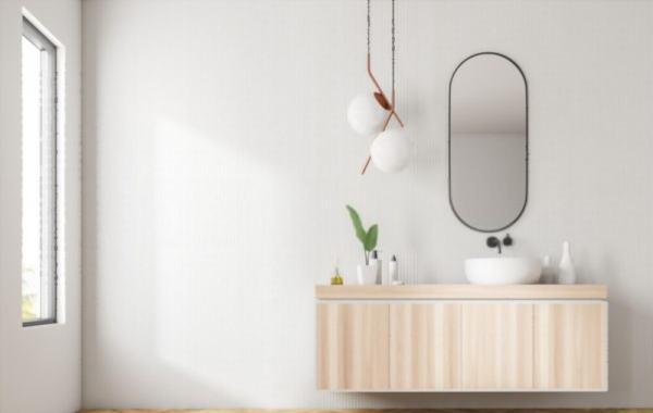 mueble cuarto de baño acabado madera natural