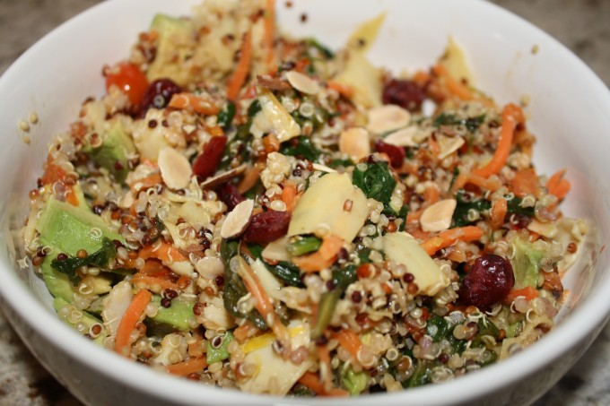 Tri Color Quinoa Salad with fresh veggies, avocado, cranberries, and almonds