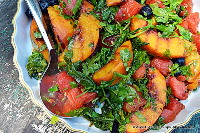 grilled fruit salad, cooked in a cast iron skillet