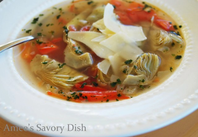 Artichoke soup,sometimes called Zuppa Di Carciofi, is a flavorful, broth based Italian soup, made with artichokes, roma tomatoes, onions, and fresh herbs.