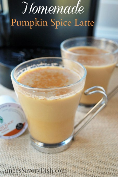 This homemade pumpkin spice latte makeover is delicious, made with real pumpkin puree and coconut sugar, a natural sugar substitute.