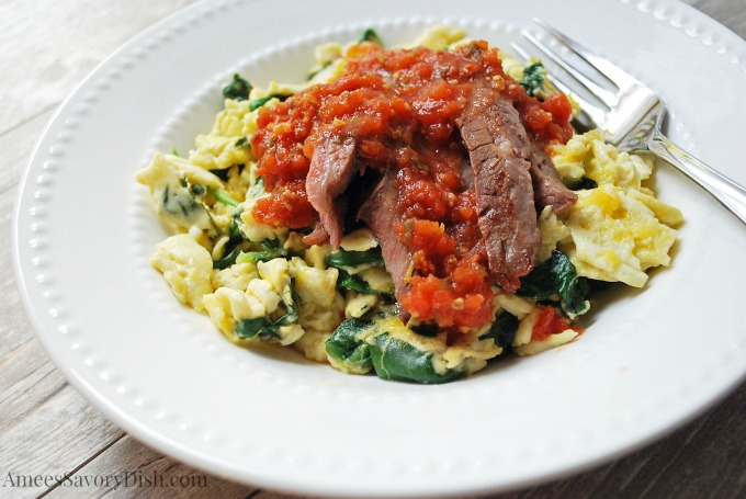 Beef Spinach Egg Scramble with Salsa watermark