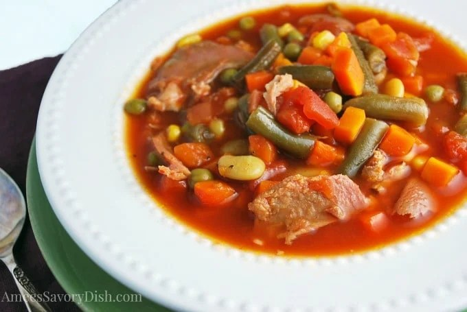 Slow cooker southern ham vegetable soup recipe