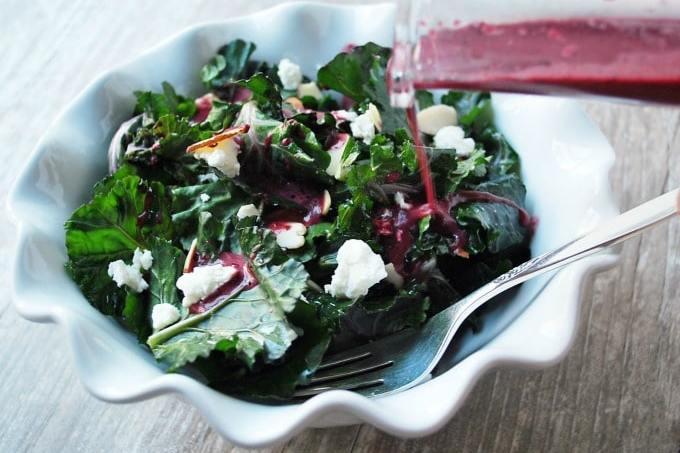 Kalette Salad with Blueberry Vinaigrette