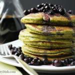 Wild Blueberry Matcha Protein Pancakes