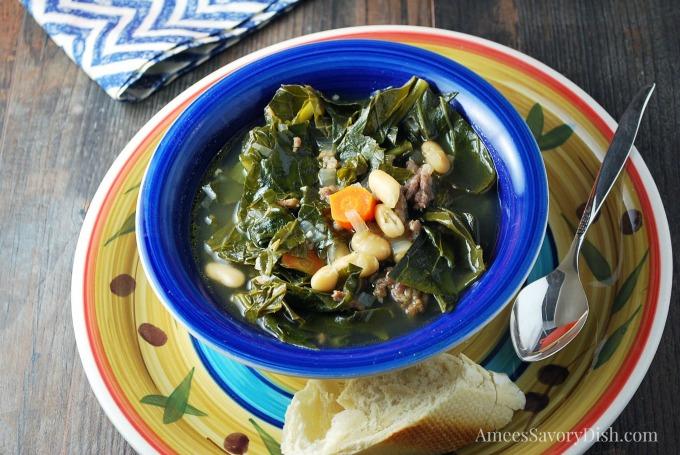 Italian Sausage White Bean & Collard Green Soup bowl