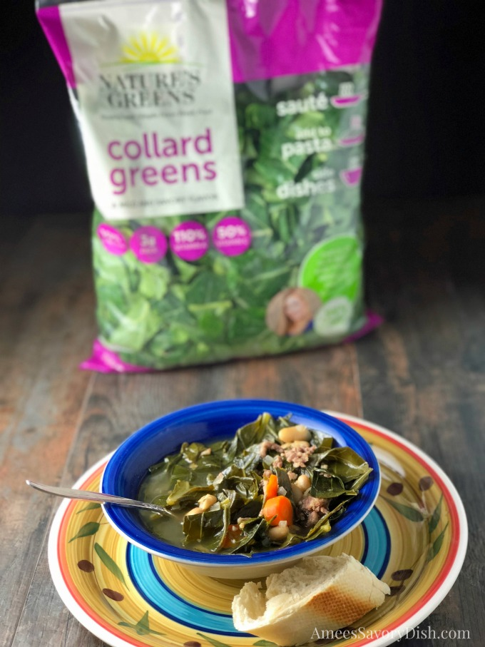 Italian Sausage White Bean & Collard Green Soup recipe made with Nature's Greens
