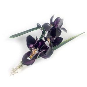 violet iris brooch
