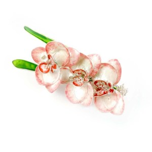 White pink orchid flower brooch