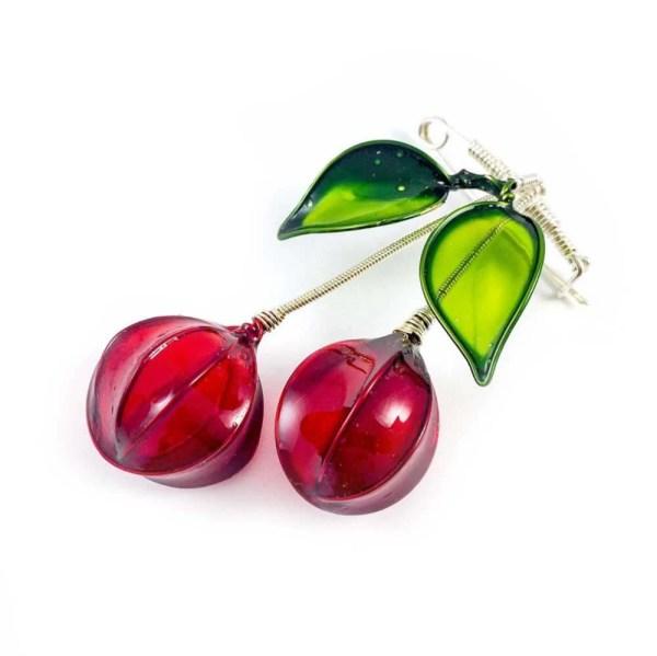 red cherry brooch