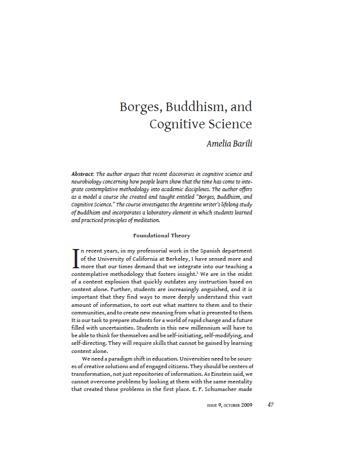 Borges, Buddhism and Cognitive Science