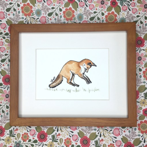 red fox woodland watercolour art print