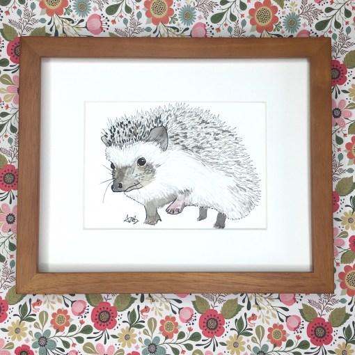 watercolor woodland hedgehog