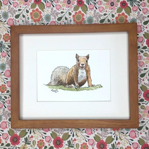 squirrel woodland watercolour