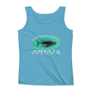 Amelia Island Right Whale Nursery Ladies Missy Fit Ringspun Tank Top Caribbean-Blue