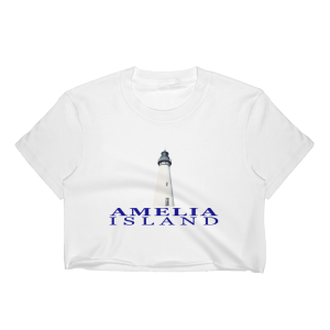 Amelia Lighthouse Short Sleeve Cropped T-Shirt White