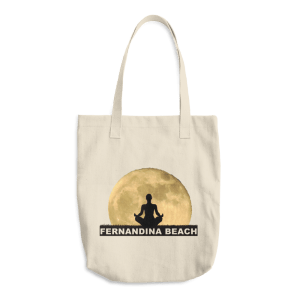 Full Moon Lotus Denim Beige Tote