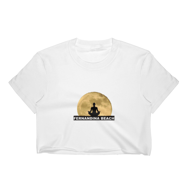 Full Moon Lotus Short Sleeve Cropped T-Shirt White