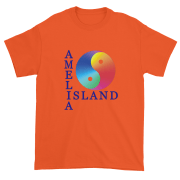 Yin & Yang Ultra Cotton T-Shirt Orange with Blue Text