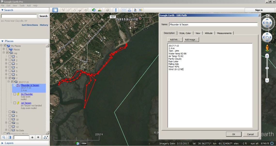 How to use Google Earth as a Fishing Log 5