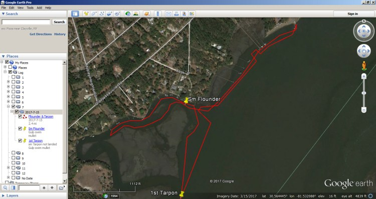How to use Google Earth as a Fishing Log 8