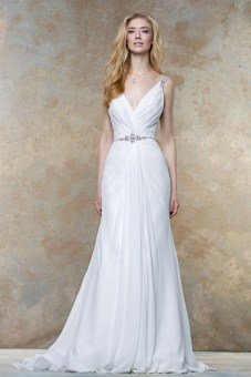 11457 - Deep V-neck pleated chiffon bodice with jewel encrusted belt, straps and crystal beaded illusion statement back.