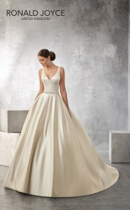 Alison - A CLASSIC SATIN SLEEVELESS BALL GOWN WITH A PEARL AND JEWEL ENCRUSTED WAISTBAND, V BACK AND BUTTON DETAIL