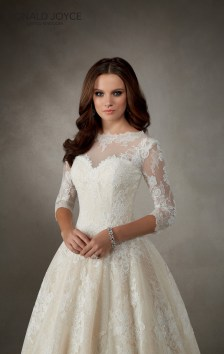 Amalfi - A CLASSIC LACE TEA LENGTH DRESS WITH ¾ LENGTH SLEEVES, ILLUSION NECKLINE AND PLUNGE BACK