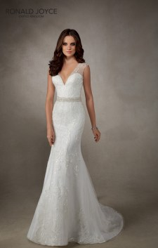 Amber - A SLIM FITTING TULLE DRESS WITH BEADED LACE, BEAUTIFUL KEY-HOLE BACK AND DETAILED BEADED WAISTBAND