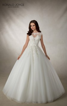 Angelica - A CLASSIC TULLE BALL GOWN WITH BEAUTIFUL LACE APPLIQUES, ILLUSION BACK AND BOW SATIN WAISTBAND
