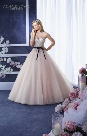 Eunice - A STRAPLESS BEADED LACE BODICE ON A TULLE PRINCESS SKIRT WITH TWO SATIN TIE SASHES