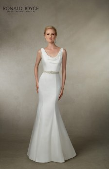 Joyce - A SOFT SATIN FIT AND FLARE GOWN WITH A COWL NECKLINE, PLUNGE BACK, BEADED BELT AND BUTTON BACK DETAIL