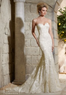 Style 2782 - Alencon Lace on Net Over Soft Satin with Crystal Beading Wedding Dress
