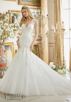 Style 2882 - Beautifully Frosted Beading on Embroidered Lace Appliques onto Tulle Wedding Dress