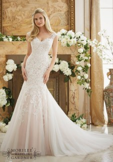 Style 2888 - Vintage Lace Appliques on Soft Net Wedding Dress