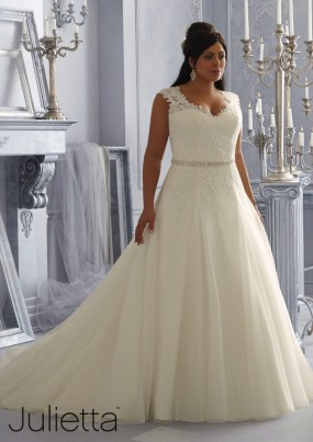 Style 3162 - Sparkling Embroidered Lace Appliques on Tulle Plus Size Wedding Dress