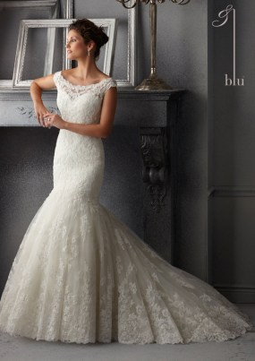 Style 5265 - Delicate Beading on Alencon Lace Wedding Dress
