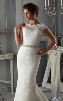 Style 5268 - Allover Alencon Lace Wedding Dress with Beaded Satin Ribbon Sash