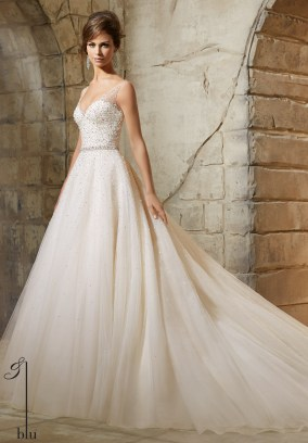 Style 5376 - Tulle Ball Dress Sprinkled with Crystal Beading Wedding Dress