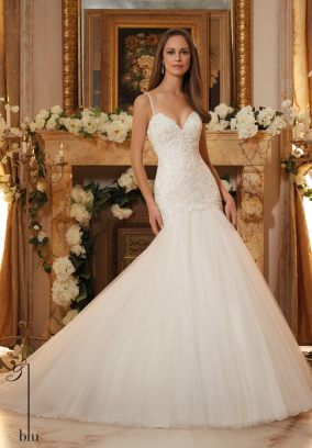 Style 5467 - Delicately Beaded Embroidery on Tulle Wedding Dress