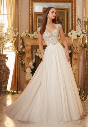 Style 5476 - Crystallized Embroidery on Soft Tulle Ball Gown Wedding Dress