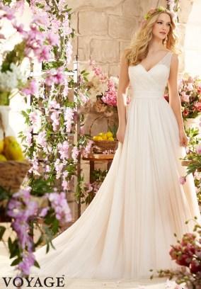Style 6805 - Deep V Back Soft Net Wedding Dress