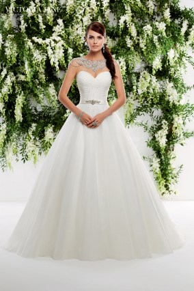 Odessa - RUCHED BODICE WITH A SATIN WAISTBAND ON AN ORGANZA SKIRT