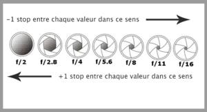 La variation de l'exposition en stops (exemple sur l'ouverture)