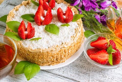 gateau au fromage et aux fraises
